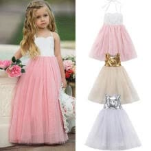 -Flower Girls Long Dress Kids Princess Party Wedding Bridesmaid Formal Ball Gown on JD