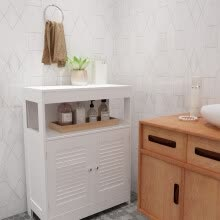 -Bathroom Storage Floor Cabinet Free Standing With Two-Door Storage Mount Cabinet on JD