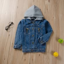 -Autumn Baby Girl Hooded Design Denim Jacket Coat Outdoor Long Sleeve Outerwear on JD