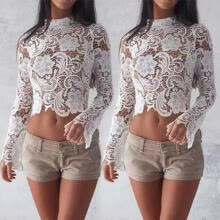 lingerie-Summer Women Long Sleeve Crochet Lace Crop Top Hollow Out Zipper Tank Tops S-XL on JD