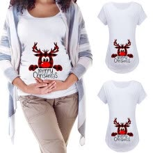 -Maternity Short Sleeve Christmas Letter Print Loose Round Neck Christmas T-shirt on JD