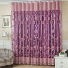 -2Pcs 100*250cm Elegant Luxury High-end Floral Pattern Window Curtains with Beads Door Voile Curtain Window Drape Divider Room Wall on JD