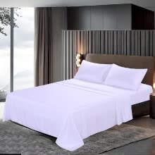 -Htovila 4-Piece Bed Sheet Set Soft Brushed Microfiber Bedding Set Flat Sheet + Fitted Sheet + 2pcs Pillowcase--Queen Size + White on JD