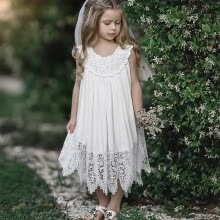 -Pretty  Girls Dress Toddler Baby Lace Dress Girls Clothes Summer Casual  Sleeveless Mini Solid Round Neck White on JD