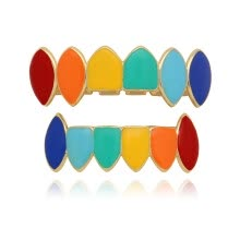 -Rainbow Hip Hop Teeth Top Bottom Tooth Grill Set Coppe Tooth Cap Jewelry Teeth on JD