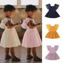 -Summer Toddler Baby Girls Fly Sleeve Solid Dress Clothes Kids Party Casual Dress on JD
