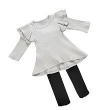 -New Style Autumn Casual Baby Girls Solid Print Long Sleeve T-Shirt Dress With Leggings Sundress Set on JD