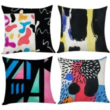 -Haswue 4pcs Modern Abstract Art Linen Pillow Pillowcase In Decorative Bedding 45X45 on JD