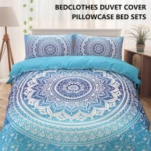 -Blue  European Lines Bedding Set Queen Double Bed Size Bedclothes Comforter/Duvet/Quilt Cover Sheet Pillowcase Bed Sets on JD