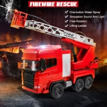 -Remote Control Fire Rescue Truck Electric Fire Engine with Ladders Rechargeable One-button Water Spray RC Car Toy for Kids on JD