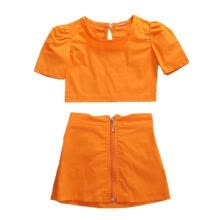 -Little Girls Orange Puff Sleeve Top + Zipper Skirt Set Kids Summer Fashion Outfits Two-piece Suit on JD