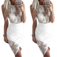 -Pencil Skirt Lace hollow Round Neck Sleeveless Mid Skirt Sexy Celebrity Party Vacation Beach Solid White Lace Dress Women on JD