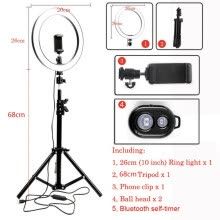 -LED Light Ring Holder Mobile Smart Phone Digital Camera Tripod Stand Mount Holder Clip Set For Youtube Makeup Selfie Photo Props on JD