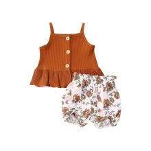 -Trendy Kids Toddler Girl Knitted Outfit Ruffle Tank Top Vest Solid Floral Shorts Summer Clothes Set on JD