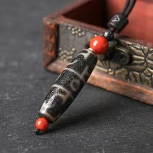 -Yan Yun Jewelry Lotus Master's Three Realms Old Dzi Bead Pendant Chalcedony Pendant with Southern Red Agate Necklace Men and Women on JD