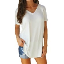 -2020 New Women T shirt Basic Plus size T-Shirts for Women Solid Color Sexy V Neck Short Sleeve Rounded Hem Long Party Tops Tees on JD