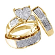 -3Pcs/Set NEW Jewelry Yellow Gold Filled Heart White Sapphire Wedding Ring Sz6-10 on JD