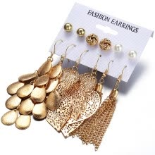 -6 Pairs Bohemia Style Golden Jewelry Set Vintage Leaves Long Tassel Stud Earrings Set for Women  Color:Gold on JD