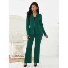 -Women's 2Pcs Notched Collar Single Button Blazer Solid Color Fashion Suit Pants on JD