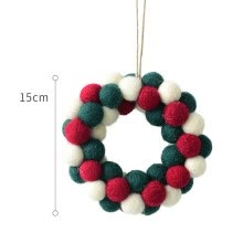 -Felt Christmas Wreath Hanging Ornament Mini Christmas Tree Garland Tabletop Ornament on JD
