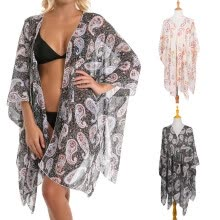 -Women Summer Printed Floral Shawl Beach Cover Up Blouse Sunscreen Bikini Cover on JD