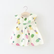 -Children Summer Girls Cute Dress Pure Cotton Fabric Pineapple Printed Halter Sleeveless Sweet Princess Dress on JD