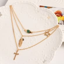-Brand Designer Fashionable Necklace With Eye Leaves Multi-layer Cross Collarbone Chain Jewelry For Female Gift on JD
