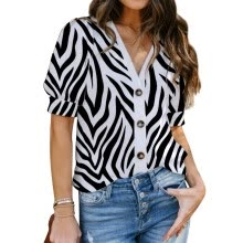 -Women V Neck Zebra-Stripe Printed Short Sleeve Shirt Buttons Casual Comfy Tops on JD