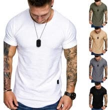 -Men's Solid Color Summer T-shirt, Round Neck Short Sleeve Casual Tight Tees Tops S/M/L/XL/XXL on JD