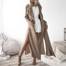 -Trench Coat Office Lady 2019 Autumn New Khaki Women's Slim Fit Trench Fashion Casual Trend Turn-down Collar Cardigan Long Coat on JD