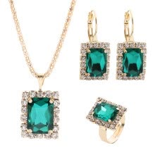-Senuolre Crystal Necklace Earring Ring Set Vintage Pendant Jewelry Three-Piece Set on JD