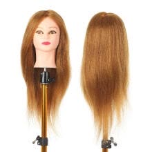 -Training Head Long Hair Mannequin Training Head for Cosmetology Synthetic Real Hair Styling Hairdressing Manikin Head for Hairdres on JD