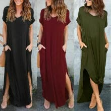 -Plus Size Women Summer Beach Loose Long Dress Holiday Baggy Kaftan Maxi Dresses on JD