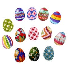 -100 PCs Mixed Wooden Buttons Painting Easter Eggs 2Hole Fit Sewing DIY Craft on JD
