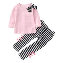 -Toddler Girl Kids Clothes Long Sleeve Bow T-Shirt+Stripe Pants Outfits Set on JD