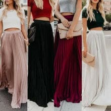 -Fashion Women High Waist Chiffon Flared Pleated Long Skirt on JD