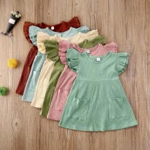 -Toddler Baby Girls Ruffle  Sleeve Tops With Pocket Fashion Summer Dress on JD