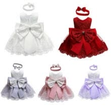 -AU Newborn Baby Girl Wedding Party Pageant Gown Dress Princess Bowknot Dresses on JD