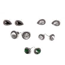 -5 Pairs/Set Stud Earrings Cubic Zirconia Water Drop Green Black Gemstone Jewelry on JD