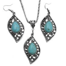 -Retro Design Leaf Turquoise Necklace Earrings Fashion Jewelry Set on JD