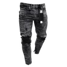 -Men Stylish Ripped Jeans Pants Biker Skinny Slim Straight Frayed Denim Trousers Fashion Skinny Jeans Men Clothes on JD