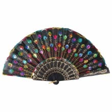 -Peacock Pattern Folding Hand Fan Bead Fabric Decor Colored Embroidered Flower Pattern Black Cloth Folding on JD
