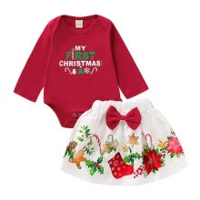 -New Baby Girl Christmas Letters Print Romper Set Newborn Long Sleeve Tops Floral Skirts With Bowknot Autumn Costume on JD