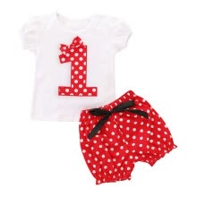 -Infant Baby Girls Number Embroidery Dot Print Tops T-shirt Shorts Outfits Set on JD