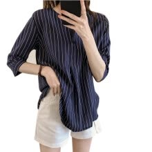 -Womens Tops Summer Striped Female Shirts V Neck Three Quarter Sleeve Casual Blouses Vintage Clothing on JD