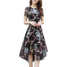 -Summer Style Mid-length Dress Short-sleeved Chiffon Dress Summer Women Self-cultivation Temperament Dress on JD