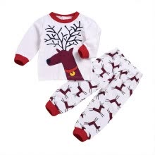 -Autumn Toddler Baby Girls Boys Long Sleeve Christmas Elk Print T-shirt Tops+Pants Suits Kids Costume Set on JD