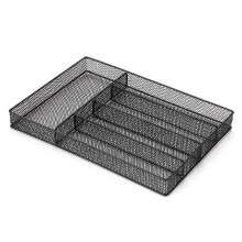-5-Compartments Mesh Metal Cutlery Flatware Tray Organizer Forks Spoons Knives Utensil Storage Basket Holder Desktop Organizer--Bla on JD