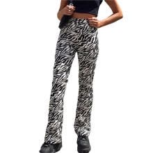 -Women Casual Long Pant Zebra Stripe High Waist Casual Trousers Palazzo Lounge Pants on JD
