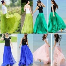 -Women Candy Color Summer Chiffon Pleated Long Maxi Dress Elastic Waist Skirt on JD